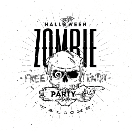 spooky eyes: Halloween party poster with zombie head and hand - line art vector illustration Illustration