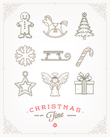 tree outline: Line art vector illustration - Set of Christmas signs and symbols