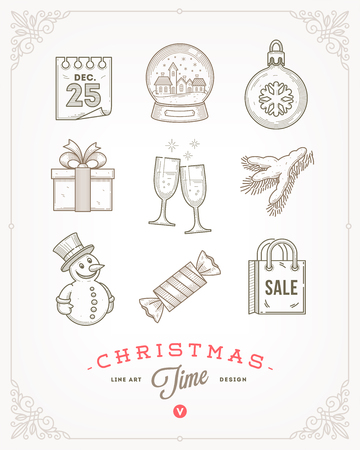 signs and symbols: Line art vector illustration - Set of Christmas signs and symbols
