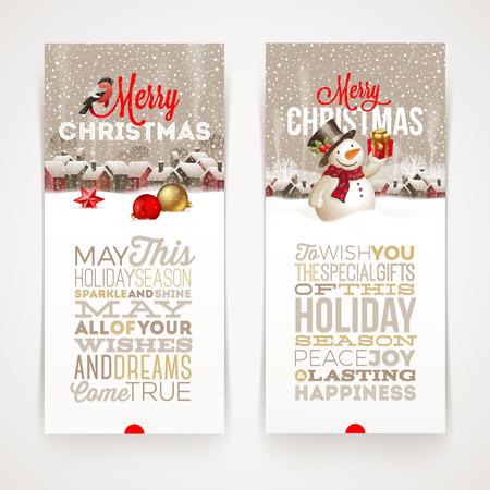 cajas navideñas: Banderas de Navidad con diseño de tipo - ilustración vectorial con las vacaciones de invierno escena