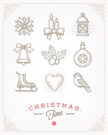 streckbilder: Line art vector illustration - Set of Christmas signs and symbols