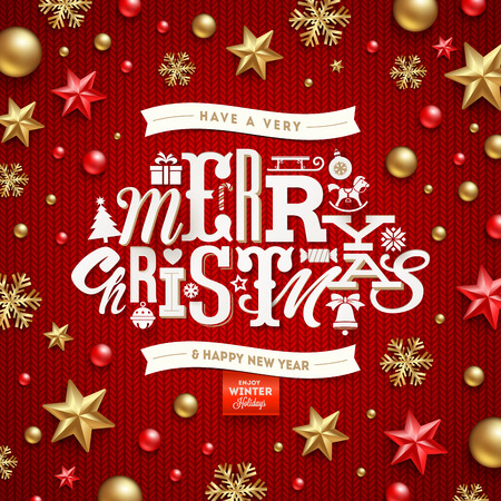 christmas decor: Christmas vector illustration - holidays decorations and type design on a knitted red background