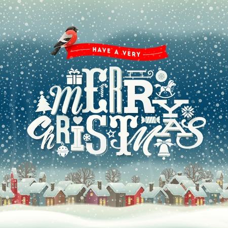 winter scene: Christmas greeting type design with winter village scene - holidays vector illustration