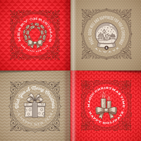 pattern antique: Decorative flourishes line art frame with christmas greetings and symbols - vector illustration Illustration
