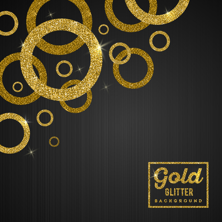 Vector background with glitter golden rings Çizim