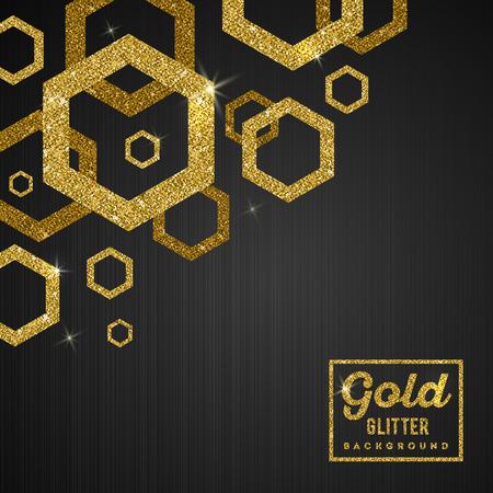 gilt: Vector background with glitter golden hexagons