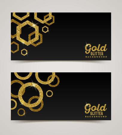 glisten: Vector black  banners with golden glitter elements Illustration