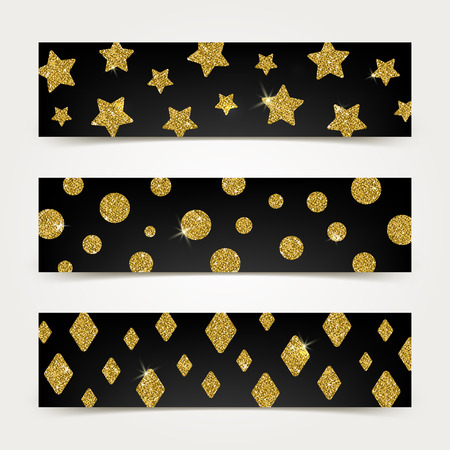 yellow star: Black banners with golden glitter elements - vector illustration