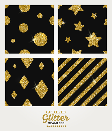 glisten: Set of glitter gold seamless background - vector illustration Illustration