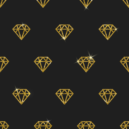 diamante negro: Diamantes de oro Glitter - vector de fondo sin fisuras
