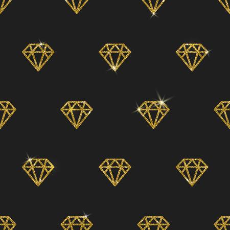 Glitter gold diamonds - vector seamless background Illustration