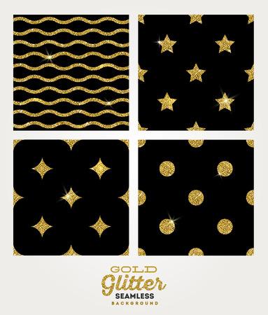 glistening: Vector set of glitter gold seamless background
