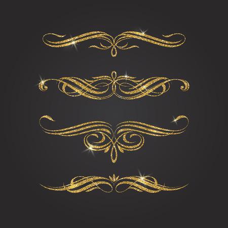 glisten: Glitter gold flourishes vector design elements Illustration