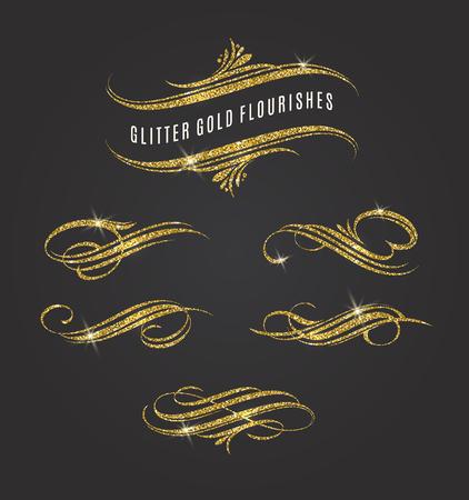 shiny gold: Vector illustration - glitter gold flourishes design elements Illustration