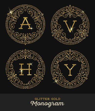calligraphic: Glitter gold ornamental frames with monogram - vector illustration Illustration