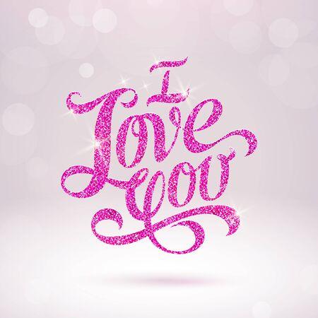 Biglietto di auguri di San Valentino con parole glitter - illustrazione vettoriale