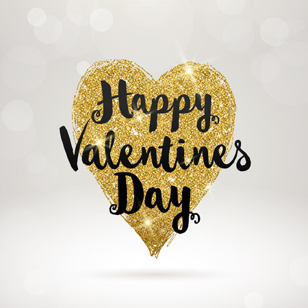 gold heart: Vector valentines greeting card with glitter gold heart