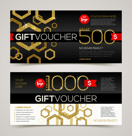 currency glitter: Gift voucher template vector design with glitter gold Illustration
