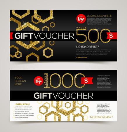 Gift voucher template vector design with glitter gold Illustration