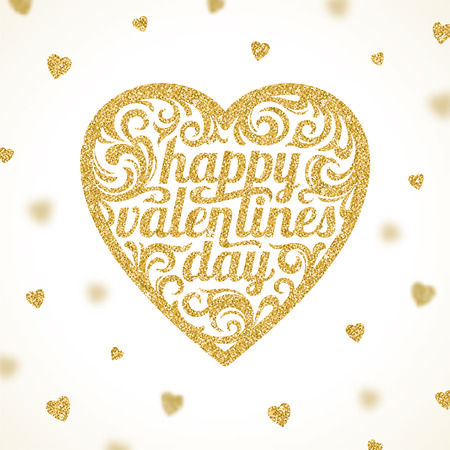 glisten: Happy valentines day - vector greeting card with glitter gold hearts Illustration
