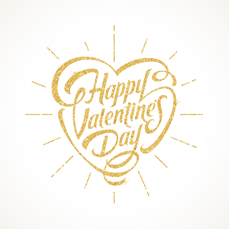 gilt: Vector illustration with glitter gold lettering - Happy valentines day