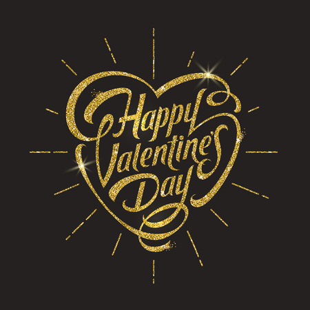 gilt: Happy valentines day - vector illustration with glitter gold lettering