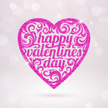 glistening: Happy valentines day - vector greeting card with glitter pink hearts Illustration