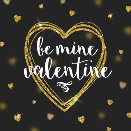 love gold: Vector greeting card with glitter gold hearts - Be mine valentine Illustration