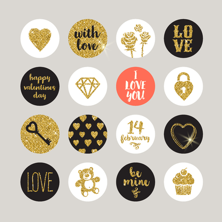 Valentines holiday vector set - glitter gold design elements and lettering