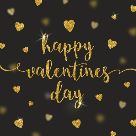 and gold: Valentines greeting card with glitter gold calligraphy