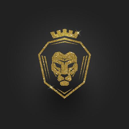 Glitter gold lion - illustration