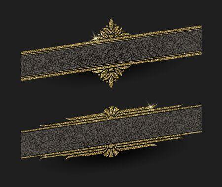 glisten: Glitter gold decorative frames - illustration