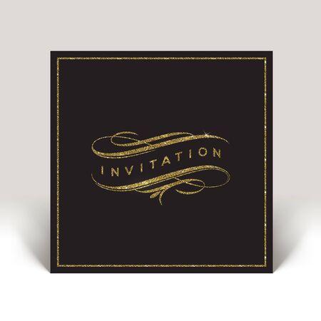 eleganz: Vorlage Einladung mit Glitzer Gold blüht Elemente - Illustration Illustration