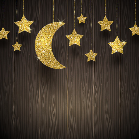 Glitter gold stars and moon on a wooden texture background - illustration Vectores
