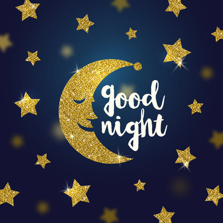 Good night wishes with glitter gold cartoon moon and stars - illustration