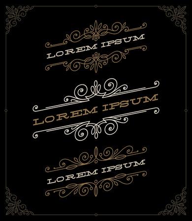 accents: set of elegant vintage ornamental emblems and templates