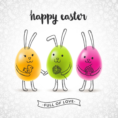 flower  hand: Vector illustration - Easter greeting card with eggs and hand drawn rabbits Illustration