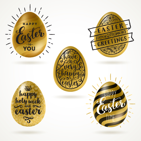Set of golden eggs with Easter greeting type design - vector illustration