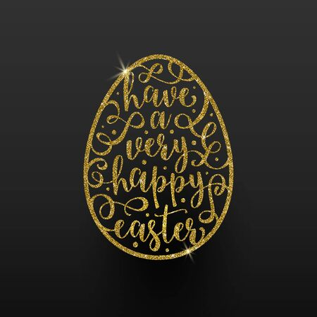 gold egg: Vector Easter greeting card  -  easter glitter gold egg with calligraphic type design