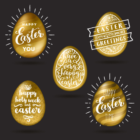 Vector illustration - Set of golden eggs with Easter greeting type design