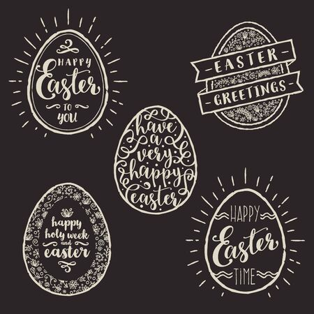 type: Vector illustration - Set of eggs with Easter greeting type design