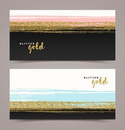 Banners met grunge glitter gouden streep, vectorillustratie, achtergrond voor uw ontwerp - cadeaubon, cadeaubon, coupon, visitekaartje, label etc.