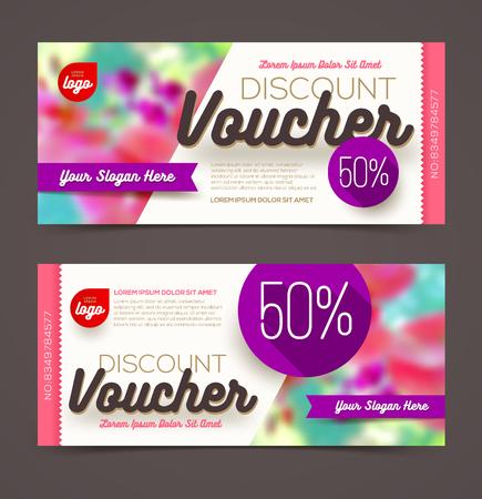 discounts: Discount voucher template - multicolor bright design, Vector illustration, Design for  invitation, certificate, gift coupon, ticket, voucher, diploma etc.