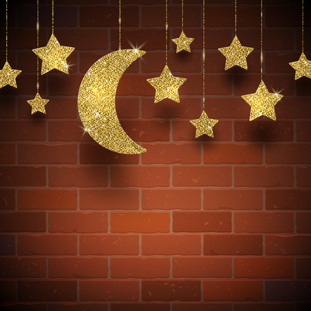 luna: Glitter gold stars and moon on a brick wall texture background - vector illustration