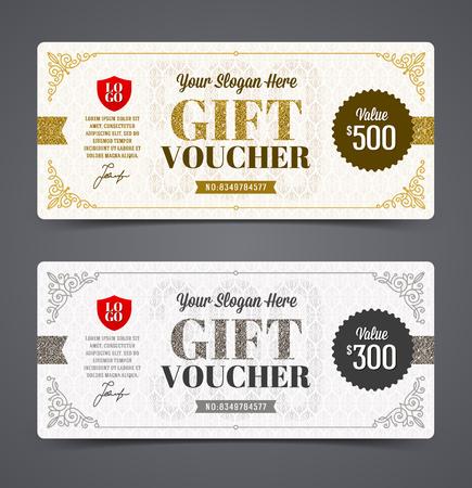 cheque en blanco: plantilla vale de regalo con el brillo del oro y la plata, ilustración vectorial, diseño para la invitación, certificado, cupón de regalo, ticket, asiento, diploma, etc.