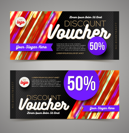 restaurant bill: Discount voucher template - multicolor bright design, Vector illustration, Design for  invitation, certificate, gift coupon, ticket, voucher, diploma etc.