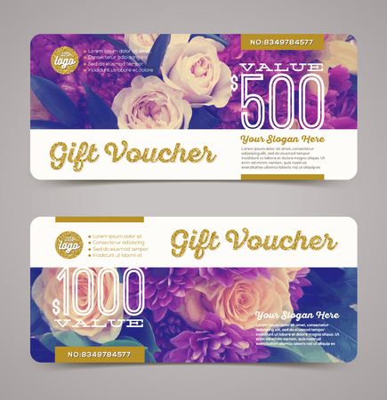 vouchers: Gift voucher template with  floral background and glitter gold elements. Vector illustration, Design for  invitation, certificate, gift coupon, ticket, voucher, diploma etc.