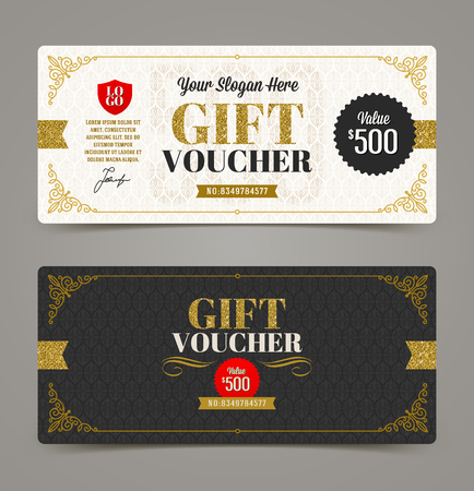 Gift voucher template with glitter gold, Vector illustration, Design for  invitation, certificate, gift coupon, ticket, voucher, diploma etc. Ilustrace