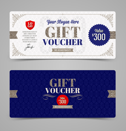 Gift voucher template with glitter silver, Vector illustration, Design for  invitation, certificate, gift coupon, ticket, voucher, diploma etc. Ilustrace