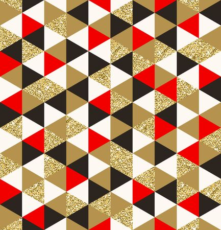 red gold: Geometric pattern composed of triangular elements - vector seamless background Illustration